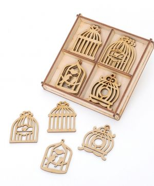 Laser cut wooden shapes  MDF set 20pcs - Birdcages IDEA1645