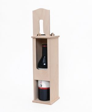 Wooden box for wine bottle - bottle shape IDEA1655-1