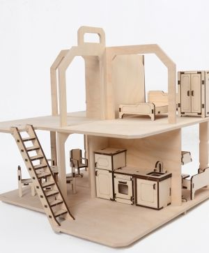 Wooden dollhouse with furniture - IDEAN1664