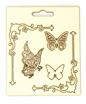 Chipboard - Corners and butterflies IDEA0971