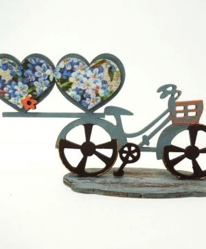 3D wooden construction kit - Bicycle with hearts IDEA1567