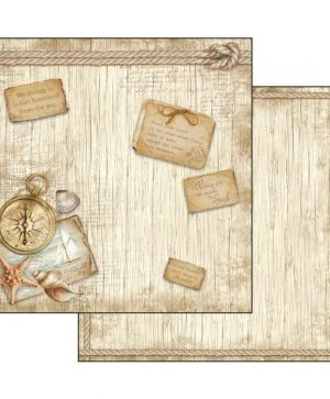 "Double face scrap paper 12""x12"" - Sea land compass SBB540"