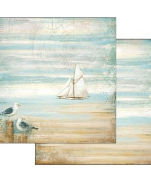 "Double face scrap paper 12""x12"" - Sea land seagulls SBB542"