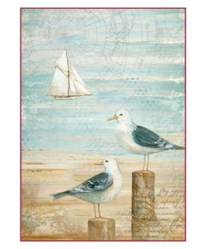Decoupage Rice Paper A4 - Sea land seagulls DFSA4283