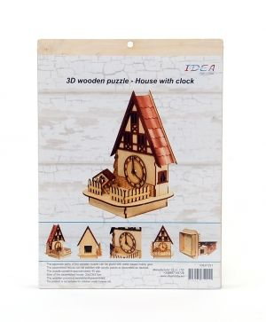 3D wooden puzzle - house with clock IDEA1221