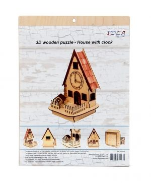 3D wooden puzzle - house with clock IDEA1223