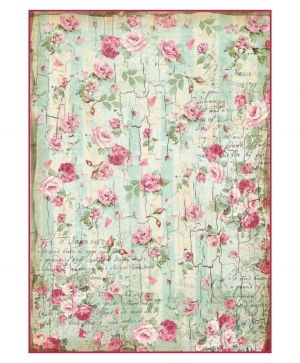 Decoupage Rice Paper A4 - Small roses and writings texture DFSA4275