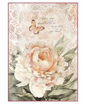 Decoupage Rice Paper A4 - Vintage rose and laces DFSA4278
