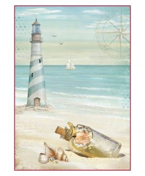 Decoupage Rice Paper A4 - Sea Land lighthouse DFSA4284