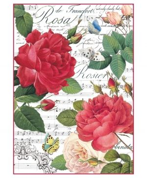 Decoupage Rice Paper A4 - Red roses and music DFSA4305