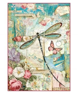 Decoupage Rice Paper A4 - Wonderland dragonfly DFSA4309