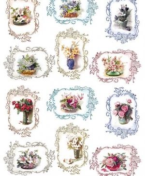 Decoupage Rice Paper A4 - Flowers in decorative frames ITD-R1330