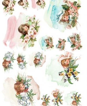 Decoupage Rice Paper A4 - Retro children with flowers ITD-R1335