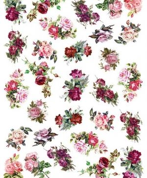 Decoupage Rice Paper A4 - Rose flowers ITD-R1338