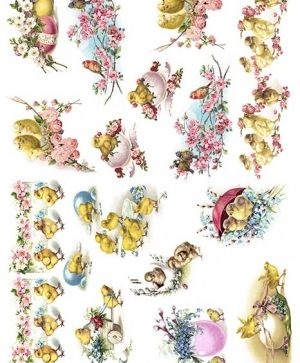 Decoupage Rice Paper A4 - Easter chickens and eggs ITD-R1344