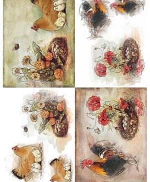 Decoupage Rice Paper A4 - Hens and chicks ITD-R1352