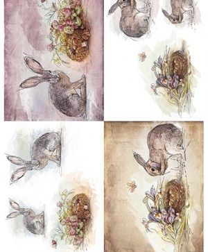Decoupage Rice Paper A4 - Hares, eggs in nests ITD-R1355