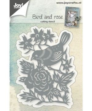 Cut-emboss stencil - Bird with rose 6002-0765