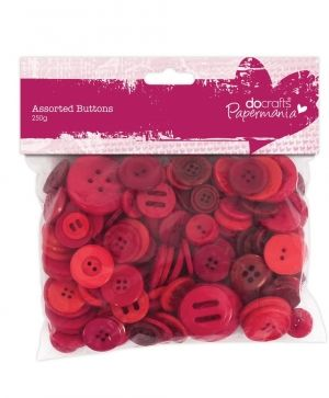 Assorted Buttons (250g) - Red PMA-354304