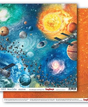 "Double-sided Paper 12""x12"" - Far-Off Worlds, Solar System SCB220610901"