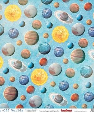 "Double-sided Paper 12""x12"" - Far-Off Worlds, Planetary Paradise  SCB220610905"