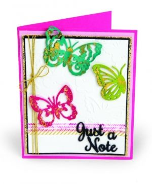 Sizzix Thinlits Die Set 6PK w/Textured Impressions - Just a Note Butterflies 662753