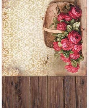 Decoupage Rice Paper A4 - boards, wallpaper, basket with roses ITD-R1383