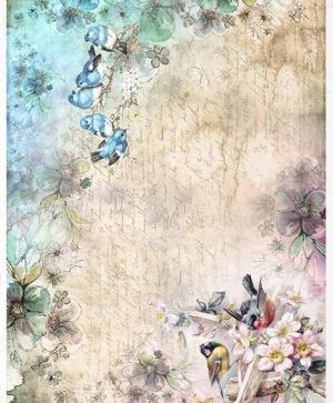 Decoupage Rice Paper A4 - spring, birds, flowers - ITD-R1386