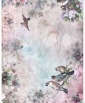 Decoupage Rice Paper A4 - spring, birds, flowers - ITD-R1387