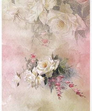 Decoupage Rice Paper A4 - roses, forget-me-nots - ITD-R1389