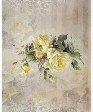 Decoupage Rice Paper A4 - flowers, yellow rose - ITD-R1403