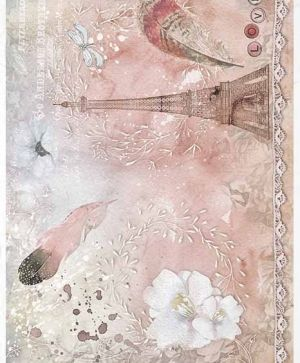 Decoupage Rice Paper A4 -lace, feathers, Eiffel Tower - ITD-R1412