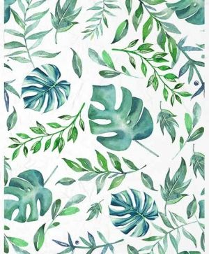 Decoupage Rice Paper A4 - green-blue leaves - ITD-R1416