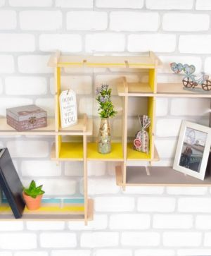 Wooden shelf square, set of 1pcs - IDEA1753