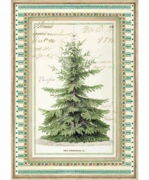 Decoupage Rice Paper A4 - Winter Botanic Christmas Tree DFSA4327