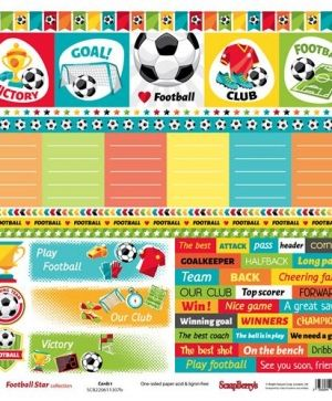 "Double-sided Paper 12""x12"" -Football Star, Cards 2 (1 sheet) SCB2206113087"