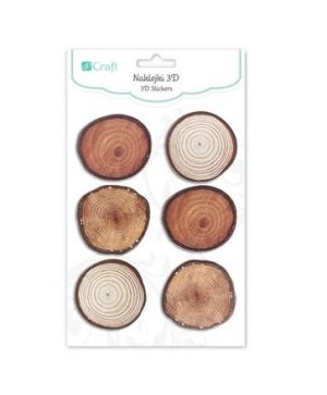 3D Stickers 6 pcs - Wood slices, roundDPNK-089