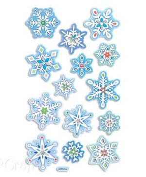 Foam stickers with glitter 14 pcs - Snowflakes DPPI-019