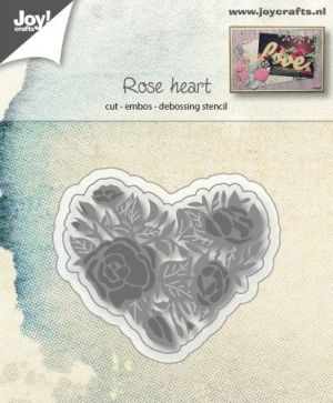 Cut-embos-debos stencil - Rose and heart 6002-1125