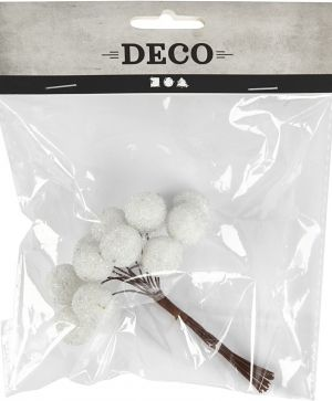 Artificial berries, D: 15 mm, white, 12pcs - C504413