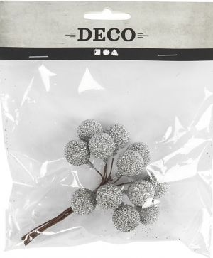 Artificial berries, D: 15 mm, silver, 12pcs - C504411