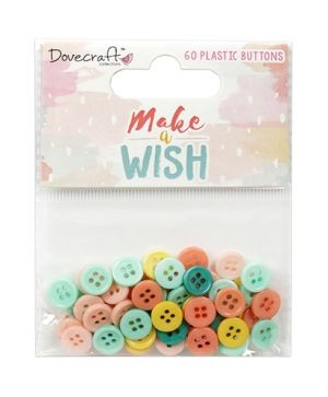 Dovecraft Plastic Buttons (60pcs) - Make A Wish  DCBTN028