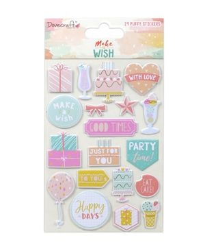 Dovecraft Puffy Stickers (19pcs) - Make A Wish  DCSTK057