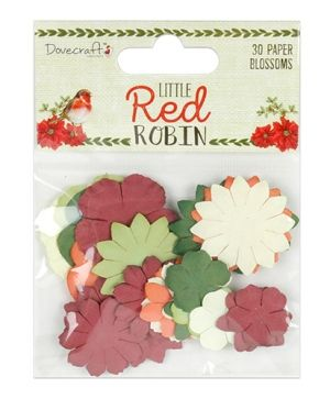 Dovecraft Paper Blossoms (30pcs) - Little Red Robin DCFLW022X18