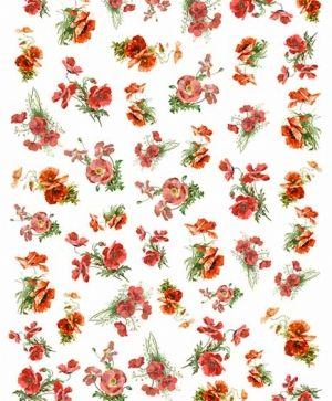 Decoupage Rice Paper A4 - flowers, red poppies - ITD-R1445