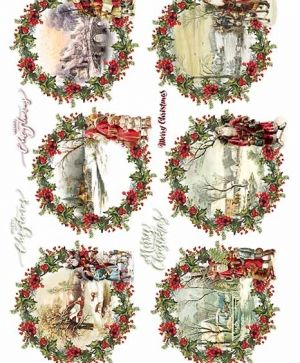Decoupage Rice Paper A4 - Santa Clauses - ITD-R1472