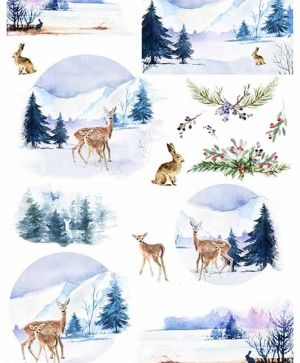 Decoupage Rice Paper A4 - winter views, animals - ITD-R1463