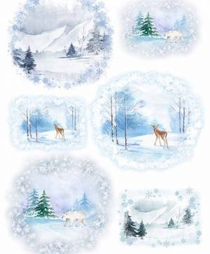 Decoupage Rice Paper A4 - mountains, deer, bear - ITD-R1484
