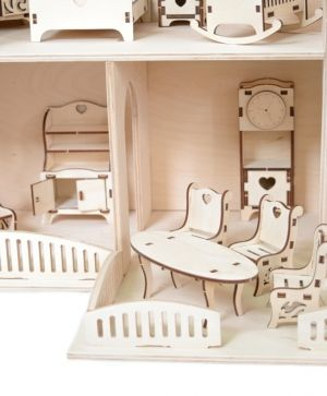 Wooden dollhouse with furniture - IDEA1779