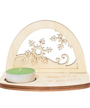 Wooden Christmas candle holder - Snowflakes IDEA1776
